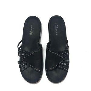Clark's heeled black slide sandals